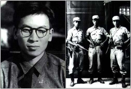 (왼쪽) 26세 때의 장준하 모습. (오른쪽) 해방 직전인 1945년 8월 중국 산동성 유현의 어느 사진관에 노능서와 김준엽, 장준하가 차례로 섰다(왼쪽부터). 이들 셋은 학도병으로 참가한 후 일본군 병영을 탈출, 중경 임시정부까지의 긴 여정에 올랐다. (왼쪽) 26세 때의 장준하 모습. (오른쪽) 해방 직전인 1945년 8월 중국 산동성 유현의 어느 사진관에 노능서와 김준엽, 장준하가 차례로 섰다(왼쪽부터). 이들 셋은 학도병으로 참가한 후 일본군 병영을 탈출, 중경 임시정부까지의 긴 여정에 올랐다.